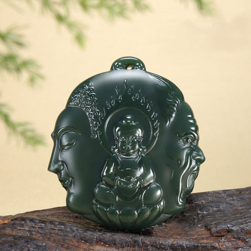 Natural Hetian Jade Hand-Carved Vintage Buddha Demon Pendant Men And Women Jade Stone Necklace Pendant Jewelry GiftNatural Hetian Jade Hand-Carved Vintage Buddha Demon Pendant Men And Women Jade Stone Necklace Pendant Jewelry Gift