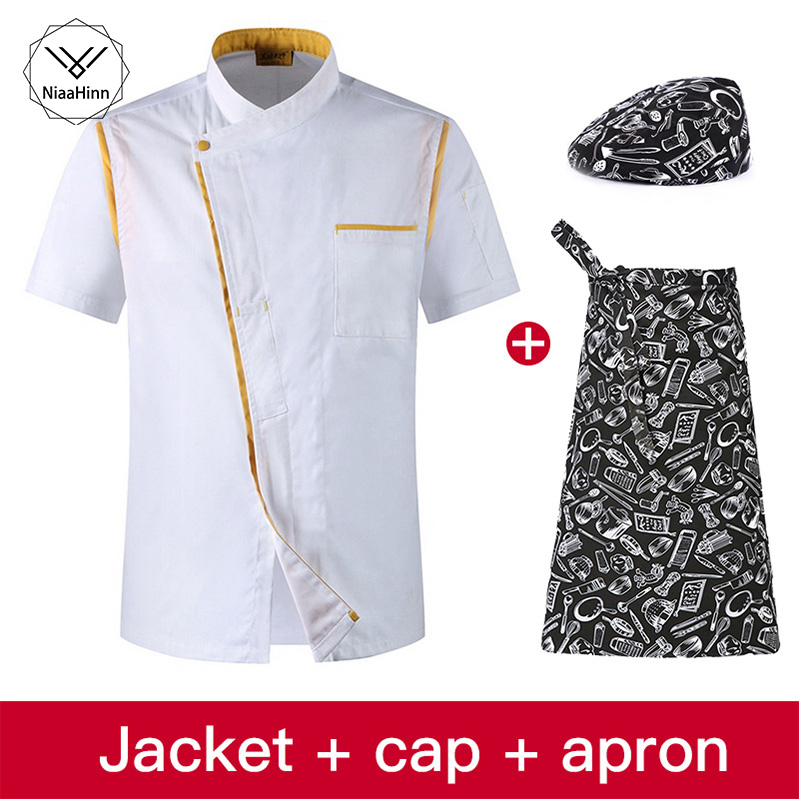 Short Sleeve Chef Uniform Western Restaurant Japan And South Korea Cooking Baked Chef Clothes Restaurant Uniform Cooker Hat