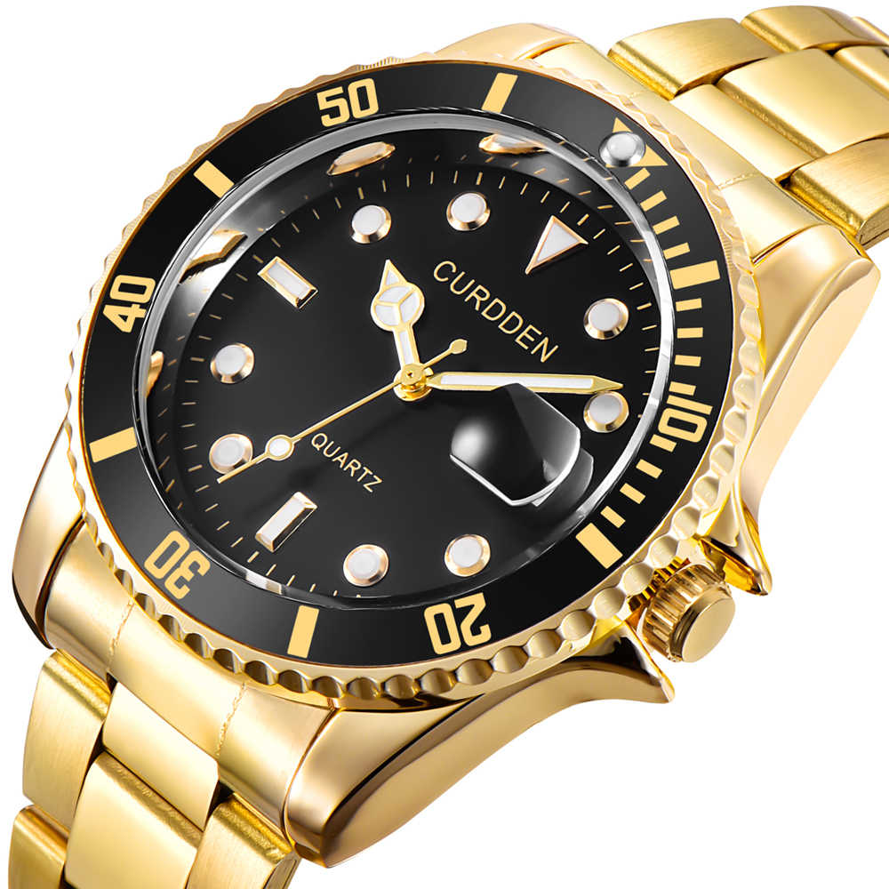 4df39d9758 Gold Watches Mens Top Brand Luxury Stainless Steel Rhinestone Casual ...