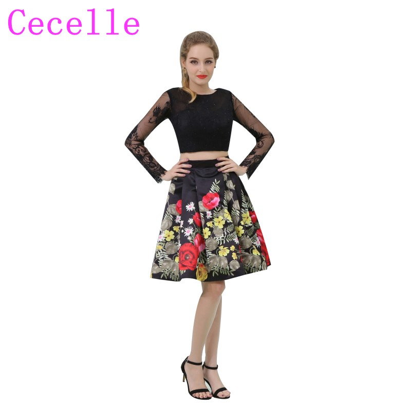 2 Pieces Floral Print Colorful Short Cocktail Dress With Long Sleeves Lace Top Sexy Open Back Two Pieces Informal Party Dress