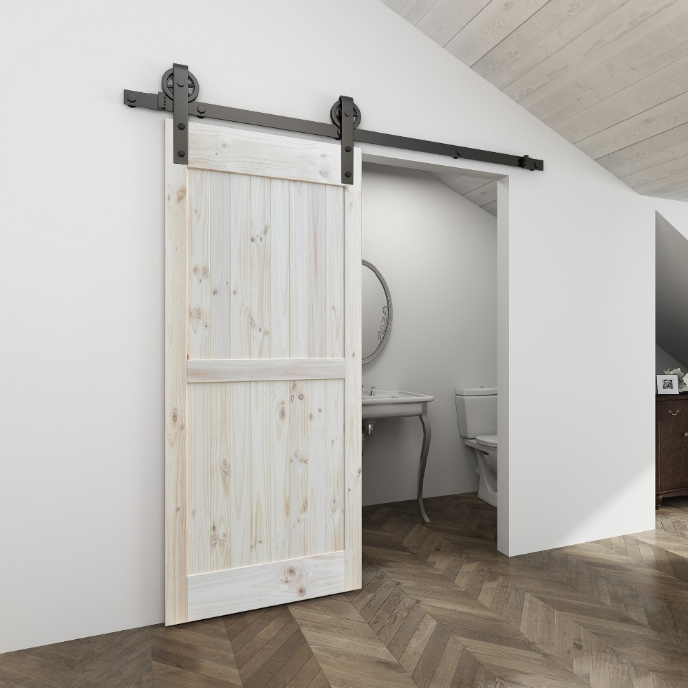 4.9FT/6FT/6.6FT Black Carbon steel  Big hanger roller interior sliding barn door hardware