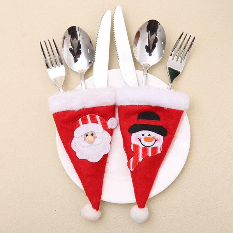 Mini Christmas Hat Caps Tableware Holder Fork Spoon Knife Set Cover Pocket Decor Bag Christmas Home Party Decoration New Year