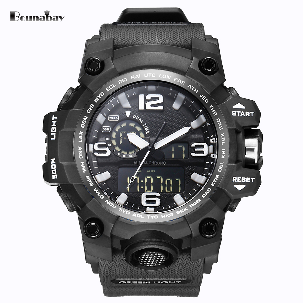 BOUNABAY waterproof watches for men original man watchs esportivo mens top brand watch military simple fashion sports watch