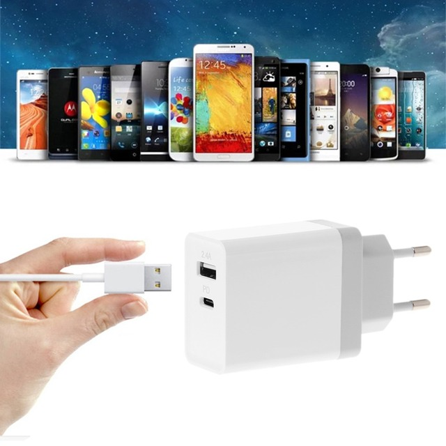 SIV 29W PD QC 3.0 Type C USB 2.4A Travel Charger Power Adapter For Cell Phone Tablet EU UK US Plug