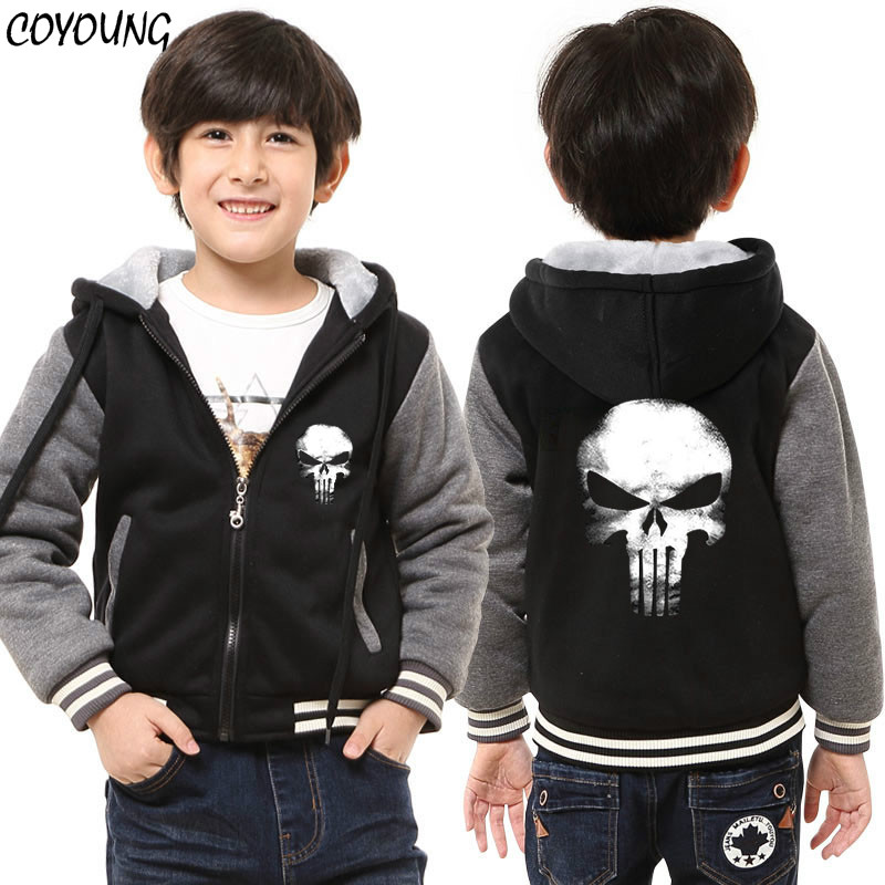 COYOUNG Brand Children Thicken Sweatshirts The Punisher Skull Hoodies Boys Gray Hoody Zipper Fleece Coat Jacket Free Shipping