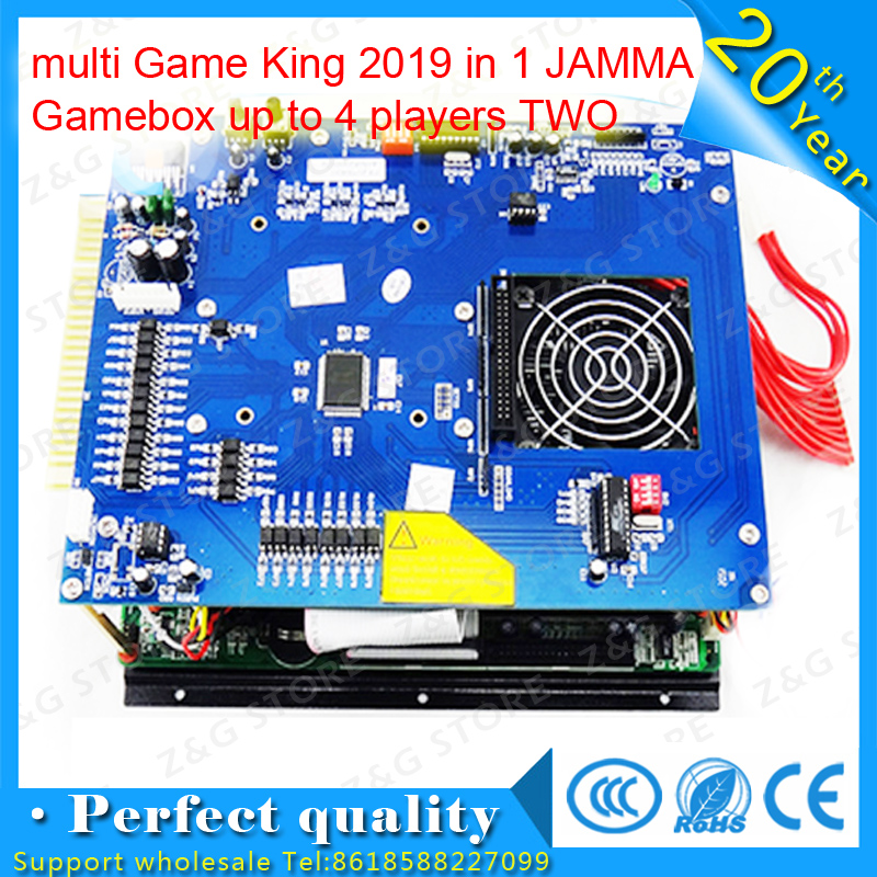 Lowest price arcade machine pcb multi Game King 2019 in 1 JAMMA Gamebox up to 4 players TWO cabinets without power supply replace upper board of 2019 in 1 game board upper jamma board for 2019 game family multi games board 2019 in 1 pcb spare parts