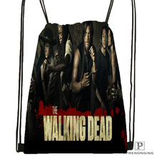 Custom the Walking Dead Drawstring Backpack Bag Cute Daypack Kids Satchel Black Back 31x40cm 180531 04
