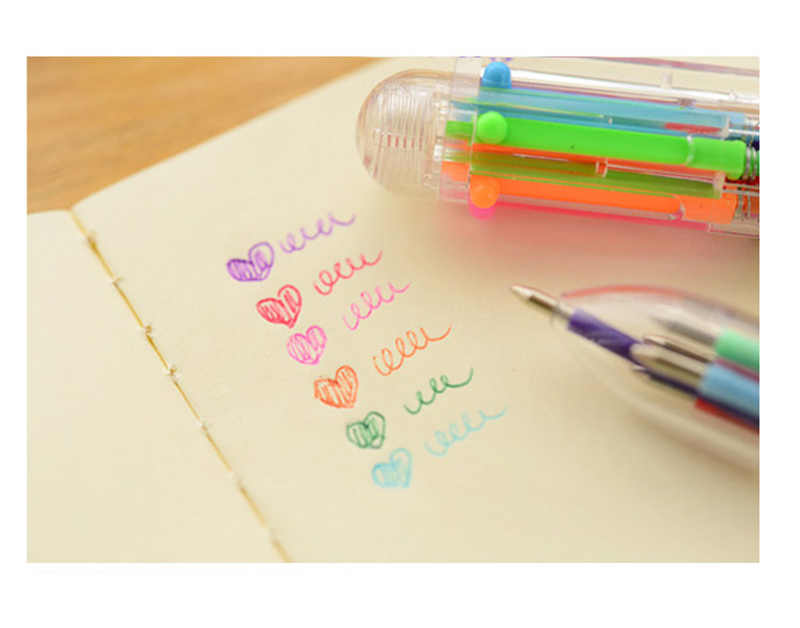 متعدد الوظائف الملونة القلم الكرة القلم متعدد الألوان 6 الإبداعية القرطاسية اللوازم المكتبية دعم مخصص مكتب دراسة أداة