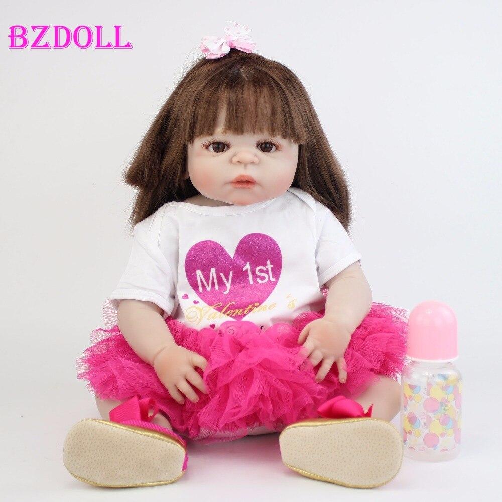 55 cm Full Siliconen Vinyl Body Reborn Baby Pop Speelgoed Als Echte 22 ''Pasgeboren Prinses Peuter Baby Poppen Baden speelgoed Gift Alive Bebe-in Poppen van Speelgoed & Hobbies op  Groep 1