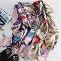 100% Шелковый женские Шарфы 110 х 110 см 2017 Весна Женщина Шарф Fourlard Люксовый Бренд Шали Обертывания SA