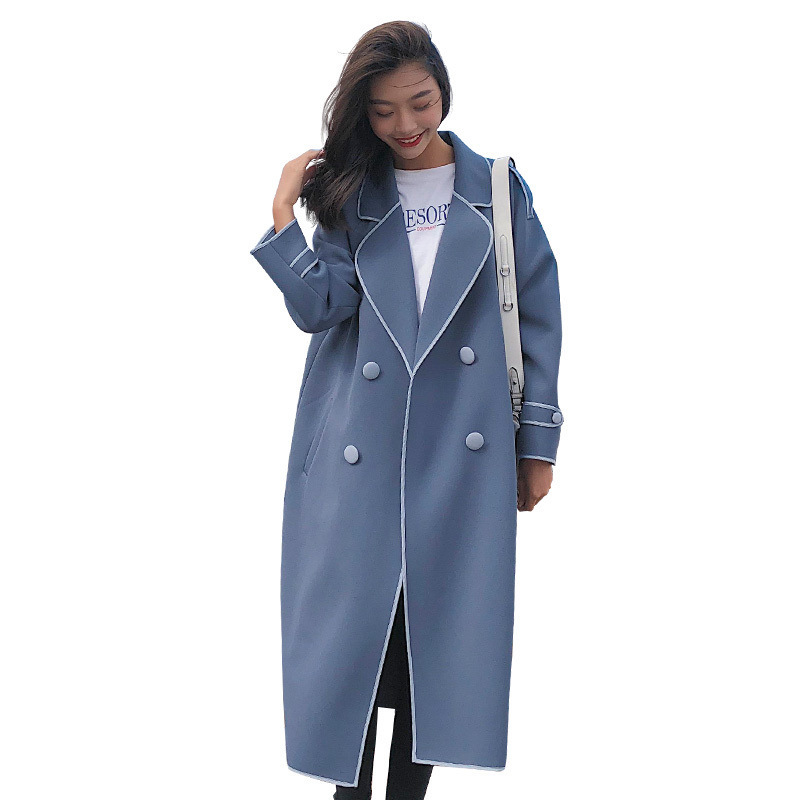 Windswear Women's Mid-Long New Korean Edition Overcoat With Slender Waist And Double-Row Button Overcoat