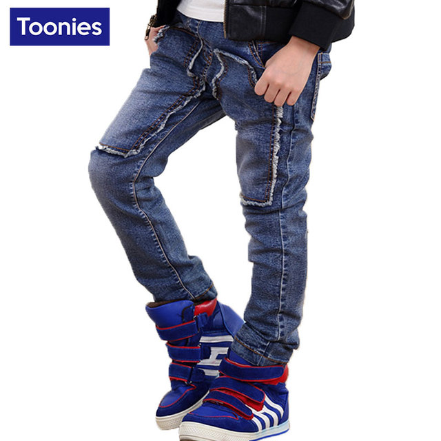 Kids Boys Fashion Jeans Brand Denim Jeans 2017 New Children Winter Autumn Solid Trouser High Quality Boys Elastic Fashion Jeans
