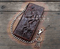 Vintage Biker Trucker Chain Leather Wallet With Dragon Tatto For Mens Boys