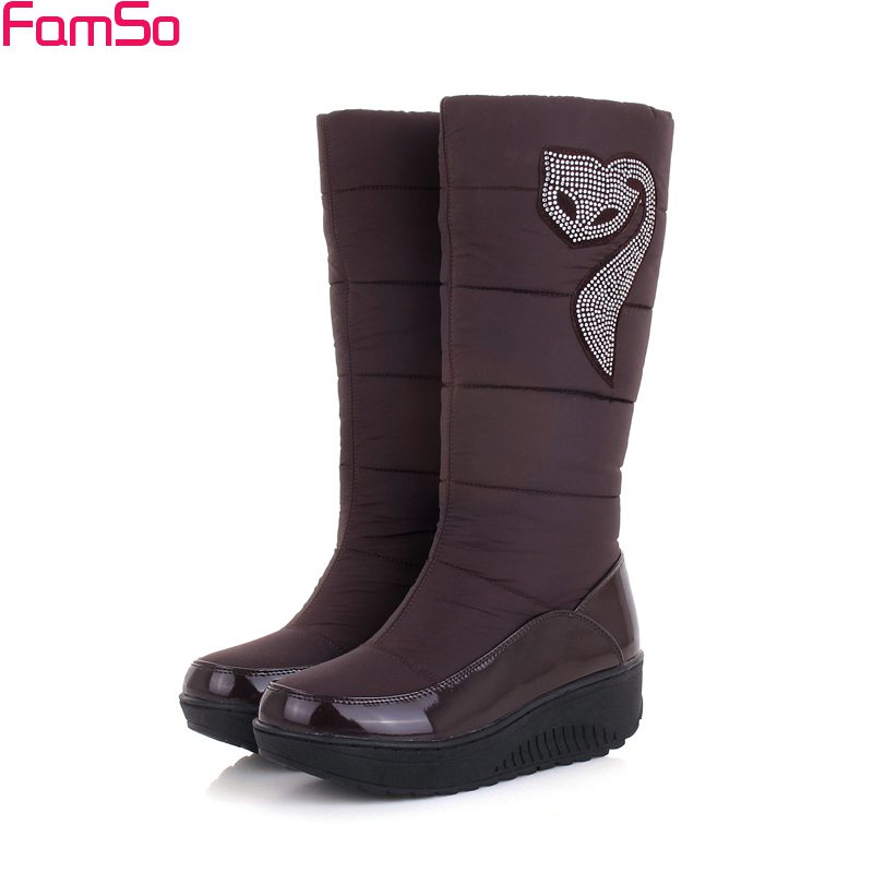 famso russia winter snow boots black rhinestone motorcycle