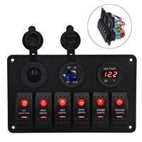6 Gang Led Switch Panel Car Boat Circuit Breaker Panel Marine Yacht Rocker 12v Switch Panel Dual USB Charger Voltmeter