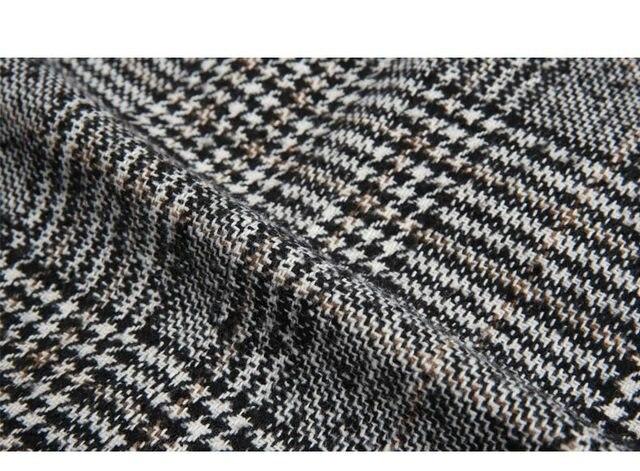 Women Wool Coat Plaid Women Loose Long Single Breasted Woolen Coats Spring Coat Woolen Overcoat Autumn Wool Jackets Trench WJ54 5