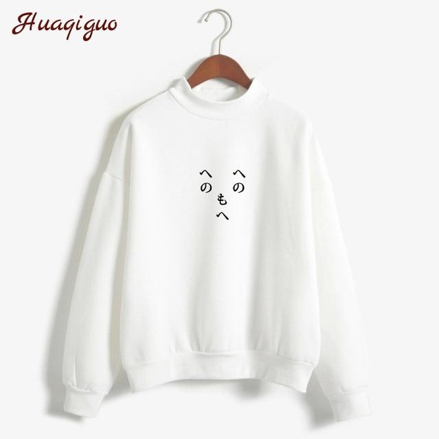 Women Pullover Fleece Hoodies Harajuku Japanese Letter Print Autumn Winter Ulzzang Moletom Feminino Kawaii Expression Sweatshirt