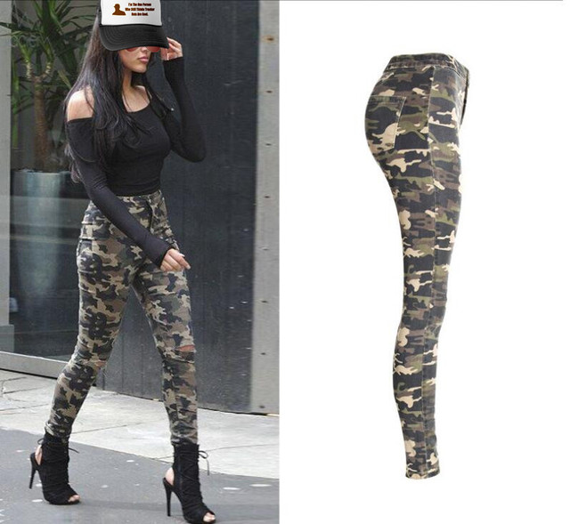 a458ef6684f US $26.99 |New Ladies Fashion Camouflage Print Army Slim Fit Skinny Hole  Jeans Demin Pencil Pants Trousers-in Jeans from Women's Clothing on ...