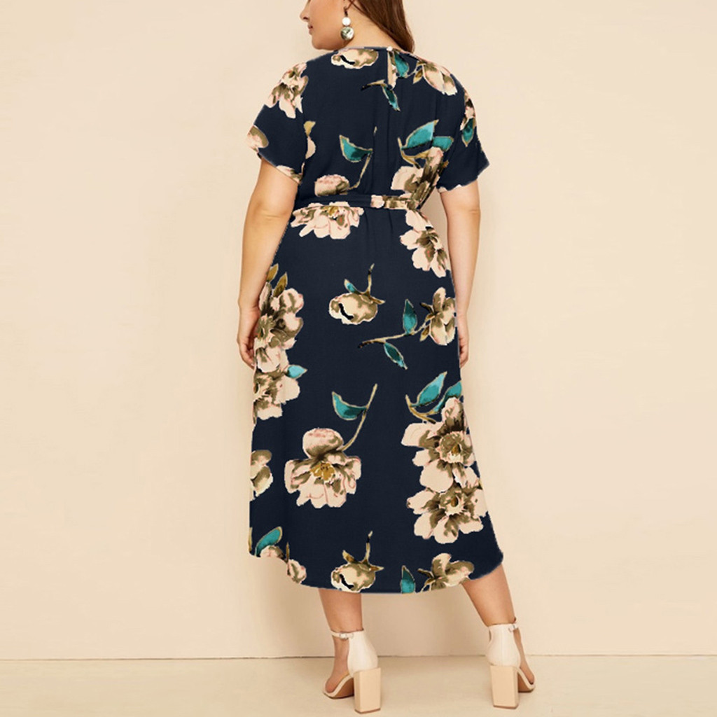 vestido de mujer Women s Casual Plus Size O Neck Short Sleeve Print Waist Strap Dress