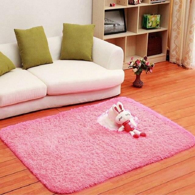 Fluffy Rug Anti Slip Shag Area Rug Living Dining Room Bedroom Carpet ...