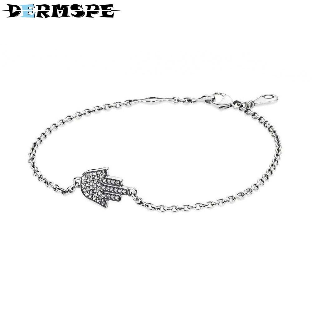 DERMSPE 925 Sterling Silver Hamsa Hand Silver Bracelet With Cubic Zirconia Fit DIY Original Bracelet Women 590505CZ Jewelry