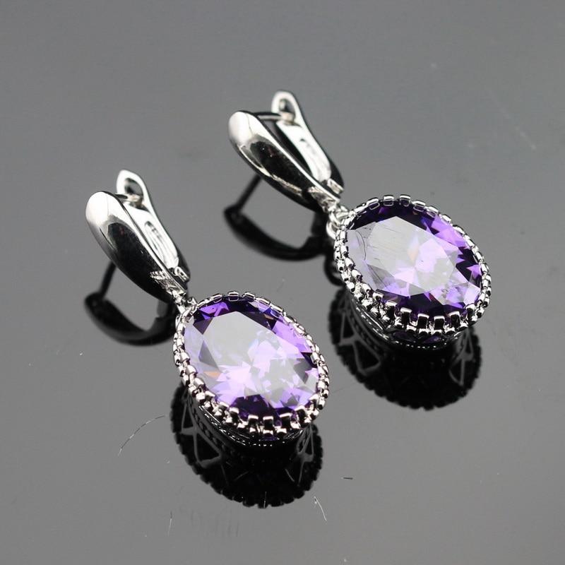 Vyrobeno v Číně oválné Purple Cubic Zirconia Stříbrná barva Drop náušnice šperky pro ženy Volný dárkový box