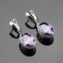 MaOval Purple Cubic Zirconia Silver Color Drop Earring