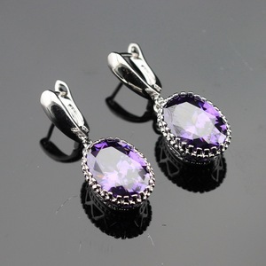 Made in China Oval Purple Cubic Zirconia Silver Color Drop Earring Jewelry For Women Free Gift Box