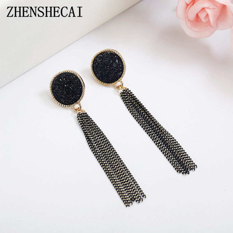 Long Earring For Women Chain Tassel Earring Metal Black Color Round Crystal Ear Jewelry 2018 New Earring Drop Wholesale