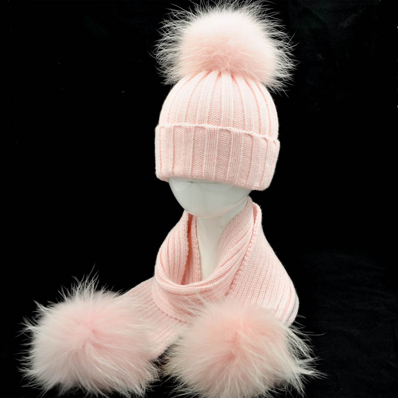 Winter Baby Kids Hat And Scarf Set Warm Thick Stretchy Knitted Beanie Boys And Girls Fur Pom Pom Cap And Scarf Set For Children