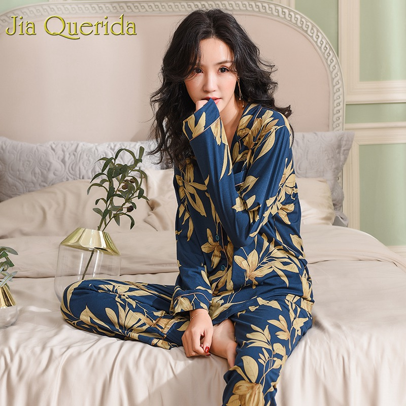 Spring Autumn Pajama Cotton Plush Lady Homewear Women Pyjamas Set Plus Size Floral Printing Women Pyjamas Navy Luxury Loungewear