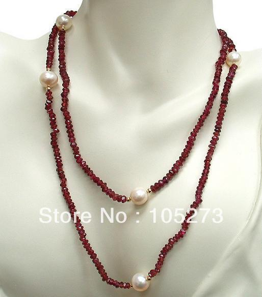 Wholesale Pearl Jewelry AA 4-10MM White Freshwater Pearl Red Garnet Necklace 48'' Fashion Jewelry Free Shipping