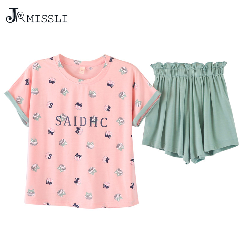JRMISSLI 2018 New Women Pajamas Suits print Home Suit Sleepwear Short Sleeve Pyjamas Comfortable Girl Pijamas Mujer