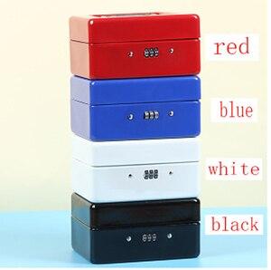 Image 5 - Przenośne bezpieczne pudełko pieniądze biżuteria schowek kolekcja Box Home School Office taca z przedziałami blokada hasła Box L 4 kolory