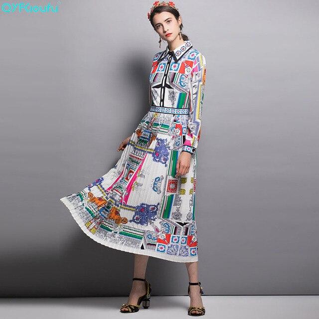 10879d2b4d0 QYFCIOUFU New 2018 Fashion Runway Autumn Dress Women s Long Sleeve High  Quality Casual Vintage Floral Print Midi Cotton Dress
