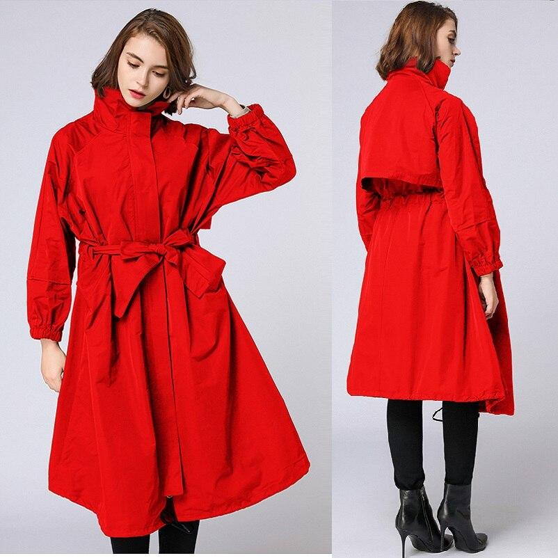 Autumn Women Long   Trench   Coat Waist belt zipper OverCoat loose fit elegant fashion   Trench   Windbreaker female Outfit Roupas XXXXL