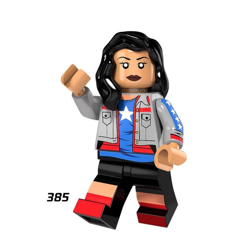 Single Sale Super Heroes Star Wars 385 Miss America Mini Building Blocks Figure Bricks Toys Kids Gifts Compatible Legoed Ninjaed Model Building