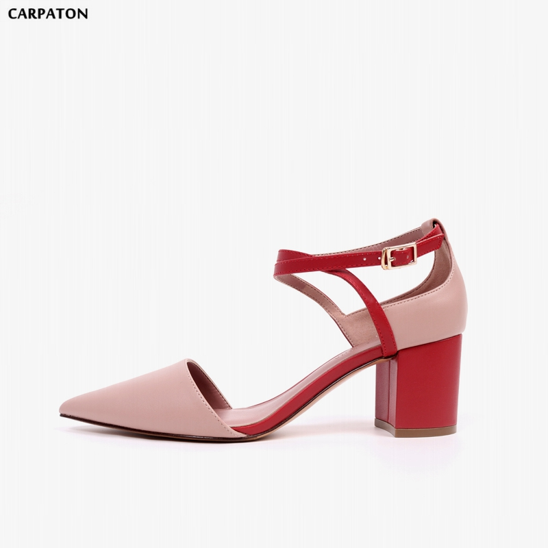 Carpaton 2018 Spring New High quality pigskin Women Shoes Pointed Toe Square Heels Word buckle Casual Mixed Colors Sandals
