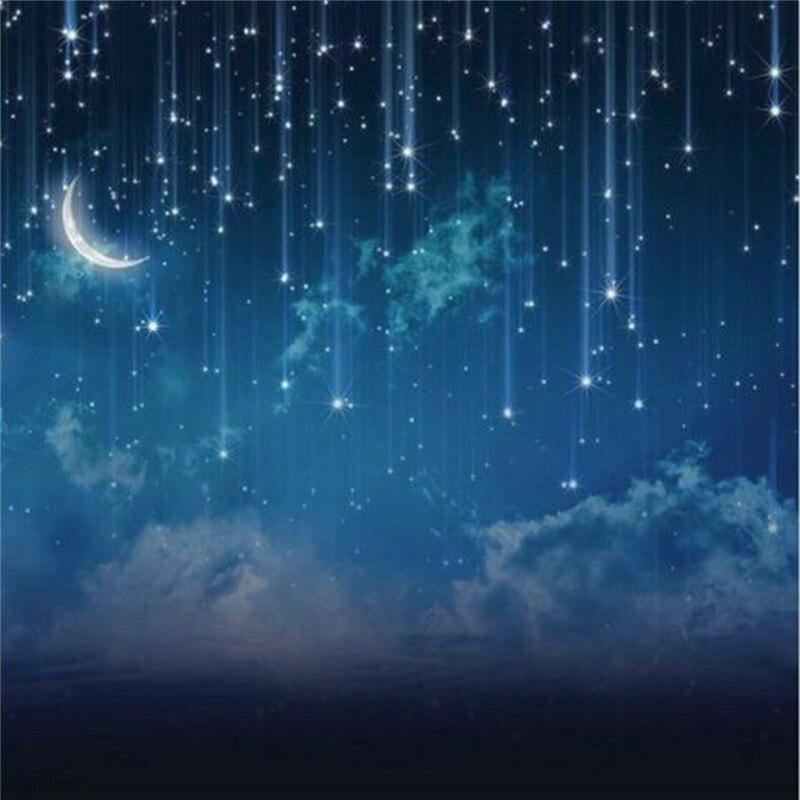 10x10FT Bleu Ciel Lune Glitter Star Night Personnalisé Photographie Fond Pour Studio Photo Props Photographique Décors en tissu - 5