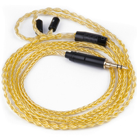 Wooeasy 3 5mm Plug Custom Made Pure Gold Plated Cable 8 Cores Detach Cable Earphone MMCX