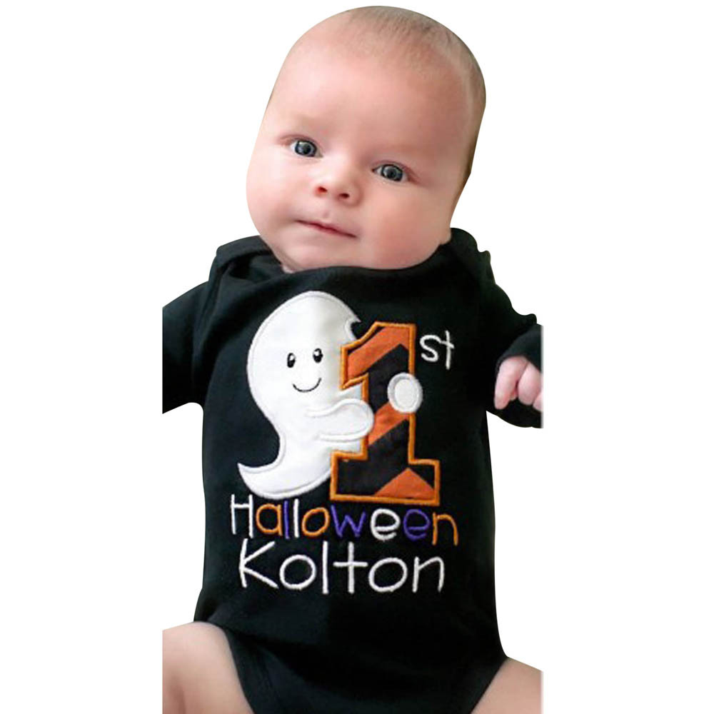 2017 autumn black infant baby boys girls halloween costume letter long sleeve romper jumpsuit clothes - Where To Buy Infant Halloween Costumes