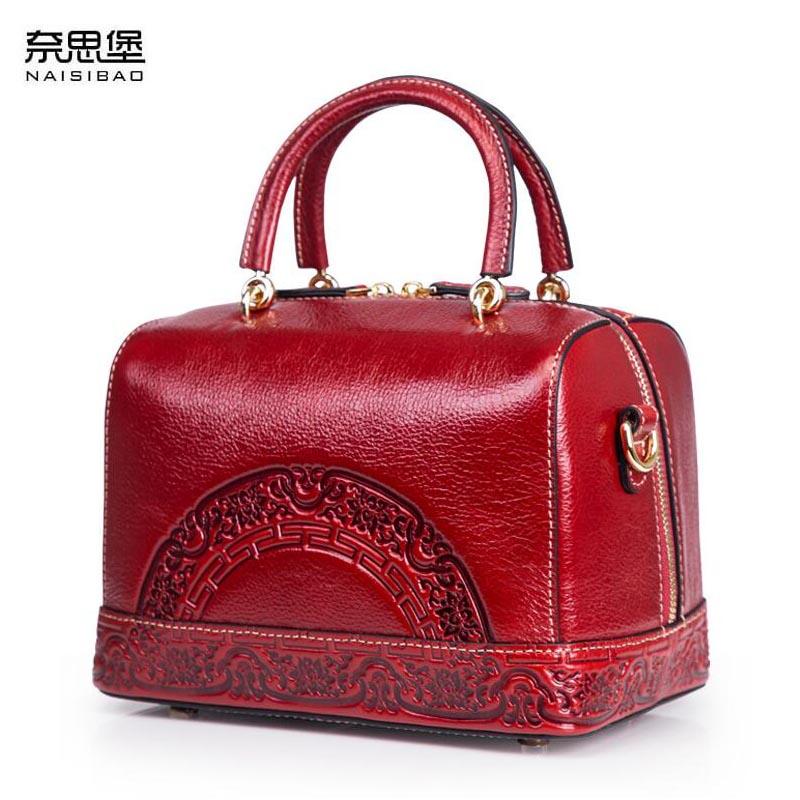 Genuine Leather women bag Chinese wind embossed shoulder bag 2018 New Retro Boston Bag все цены