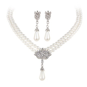 European and American Pearl crystal temperament jewelry Set 2