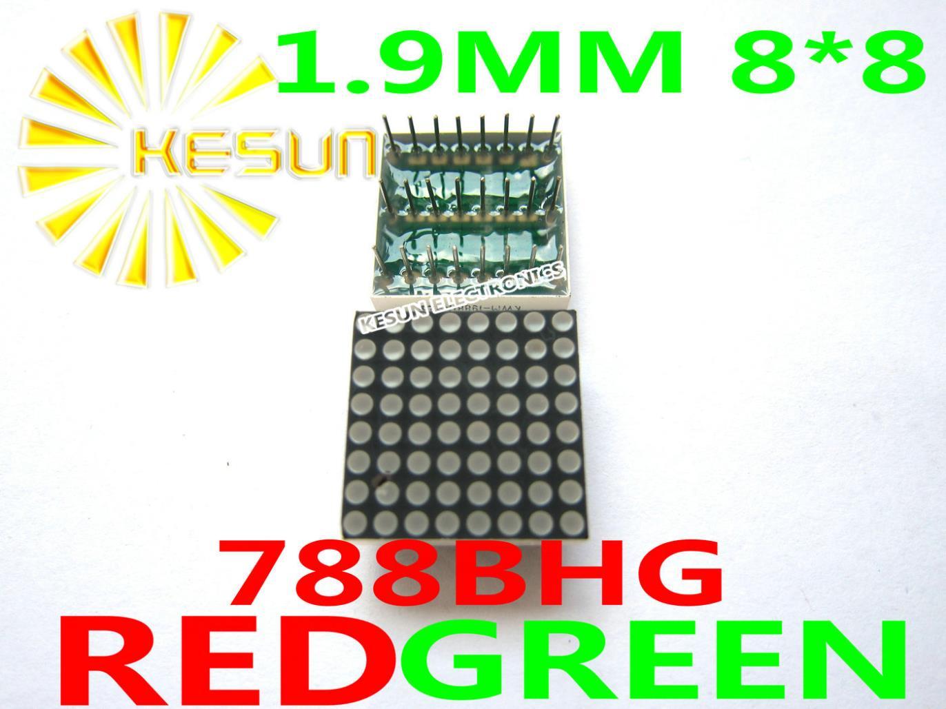 FREE SHIPPING 10PCS 1.9MM 8X8 Red Green Bi-color 20*20 LED Dot Matrix Digital Tube Module 788BHG 788AHG LED Display Module