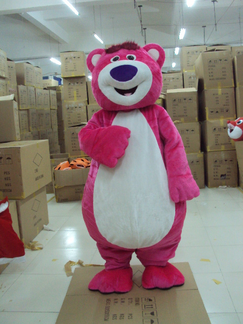 EMS Бесплатная доставка Хэллоуин наряд костюмы костюм розовый медведь мультфильм костюм талисмана для взрослых Гадкий я Show