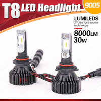 1 Set 9005 HB3 60W 8000LM T8 LED Headlight LUMILED ZES Chip 16SMD Pure White 6500K Built in Fan All in one Driving Fog Bulb Lamp