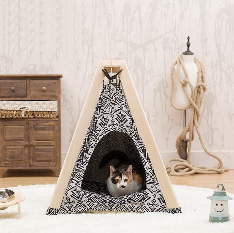SUFEILE haute qualité en bois pour animaux de compagnie tente chien maison chat nid hiver amovible chat maison VIP chien chat maison animal nid avec tapis E16