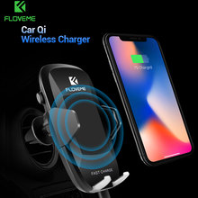 FLOVEME Car Mount Qi Wireless Charger For iPhone X 8 Samsung S8 S7 Note 8 5 Fast Wireless Charging 360 Rotation Car Phone Holder