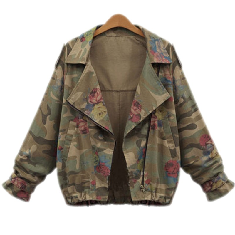 Vintage Coat Women Autumn Army Green Tops Batwing Long Sleeve Short Rose Print Short Camouflage Jacket For Ladies Y9743