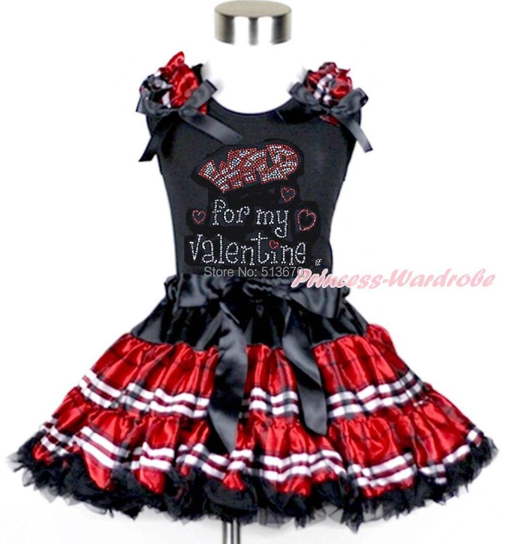 Rhinestone Wild Valentine Print Girl Black Top Black Red Plaid Pettiskirt 1-8Y MAPSA0181 xmas red orange yellow black roses brown top baby girl pettiskirt outfit 1 8y mapsa0038